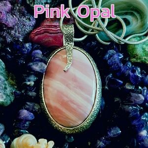 Pink Opal Necklace Sterling Silver